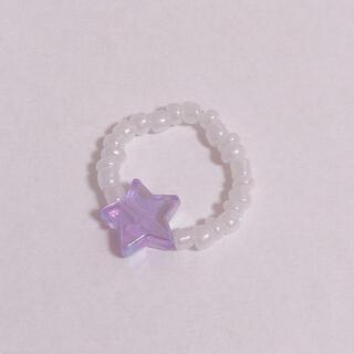 ビーズリング 星 韓国 指輪 ハンドメイド(リング)