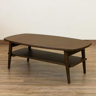 ローテーブル 棚付き センターテーブル カフェテーブル ブラウン(ローテーブル)