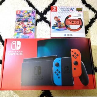 ニンテンドースイッチ(Nintendo Switch)の任天堂 スイッチ Switch 本体 新型 中古 マリオカート8セット ネオン(家庭用ゲーム機本体)