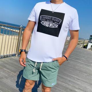 スタンダードカリフォルニア(STANDARD CALIFORNIA)のサーフブランド☆LUSSO SURF スクエアプリントTシャツLサイズ☆RVCA(Tシャツ/カットソー(半袖/袖なし))