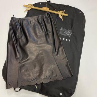 グッチ(Gucci)のGUCCI グッチレザー スカート パンチング ブラック タイトスカート(ひざ丈スカート)