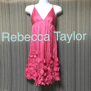 レベッカテイラー(Rebecca Taylor)のRebecca Taylor シルク 花 キャミワンピ ガーリー ピンク(ひざ丈ワンピース)