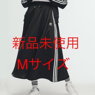 アディダス(adidas)の新品未使用 Mサイズブラック ロング サテン スカート  アディダスオリジナルス(ロングスカート)