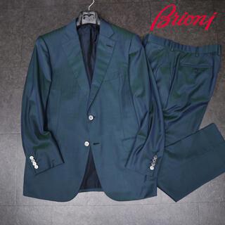 ブルネロクチネリ(BRUNELLO CUCINELLI)のブリオーニ  85万ビスポークグリーンブルーシャドーストライプセットアップスーツ(テーラードジャケット)