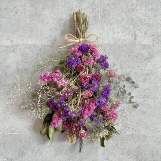 ピンクパープル♡ブーケ スワッグ*壁掛け 花材 インテリア雑貨 ドライフラワー(ドライフラワー)