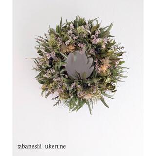 アナベルと八重咲きスターチスを丁寧に紡いだ清楚な雰囲気の リース ドライフラワー(ドライフラワー)