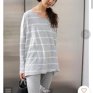 アングリッド(Ungrid)のカラーボーダーロングスリーブT グレー(Tシャツ(長袖/七分))