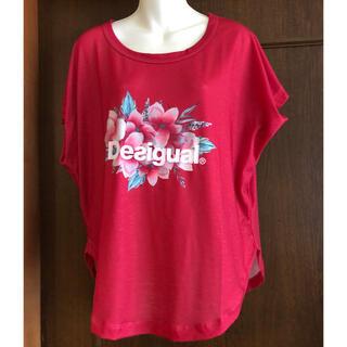 デシグアル(DESIGUAL)のデシグアルのロゴ花カットソー(未使用品)赤(カットソー(半袖/袖なし))