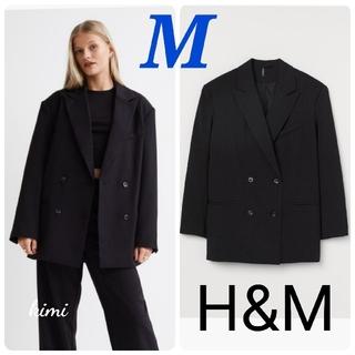 エイチアンドエム(H&M)のH&M (M 黒) ダブルジャケット オーバーサイズジャケット(テーラードジャケット)
