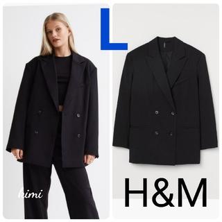 エイチアンドエム(H&M)のH&M (L 黒) ダブルジャケット オーバーサイズジャケット(テーラードジャケット)