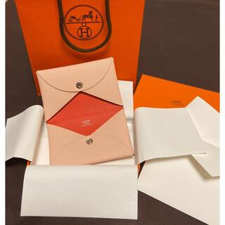 エルメス(Hermes)のエルメス カルヴィ 新品 バイカラー 名刺入れ カードケース 名刺ケース ピンク(名刺入れ/定期入れ)
