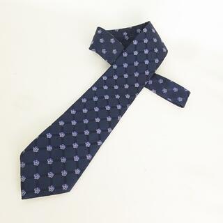 シャネル(CHANEL)のココマーク × カメリア ネクタイ 花柄 シルク ネイビー × ブルー 紺(ネクタイ)
