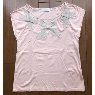 クチュールブローチ(Couture Brooch)のクチュールブローチ パール リボン ピンク カットソー トップス 38(カットソー(半袖/袖なし))