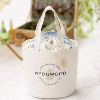 WEDGWOOD - WEDGWOOD ワイルドストロベリー柄の巾着付きバケツ型トート