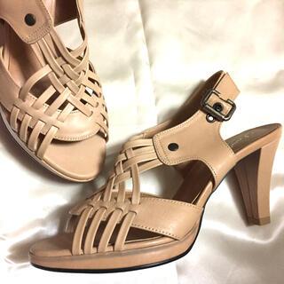 ギンザカネマツ(GINZA Kanematsu)のSALE‼️高級 ヤギ革 革靴 サンダル ベージュ 本革 パンプス 履きやすい(サンダル)