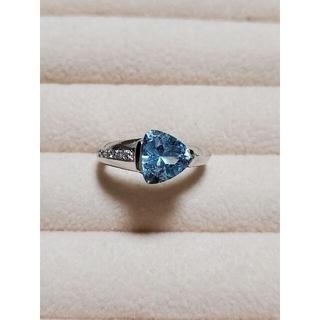 タサキ(TASAKI)の田崎真珠 K18WG アクアマリン ダイヤリング(リング(指輪))