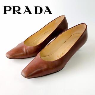プラダ(PRADA)のPRADAプラダ パンプスヒール5cm ポインテッドトゥ 茶色ブラウンレディース(ハイヒール/パンプス)