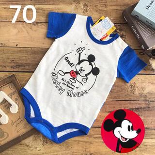 ディズニー(Disney)の【70】ミッキー 半袖 ロンパース ディズニー 青(ロンパース)