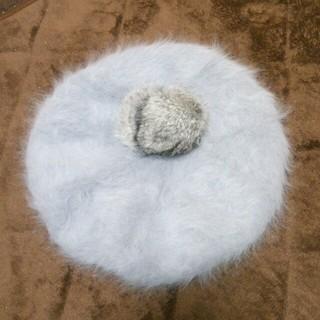 アースミュージックアンドエコロジー(earth music & ecology)のグレーのファーのベレー帽(ハンチング/ベレー帽)