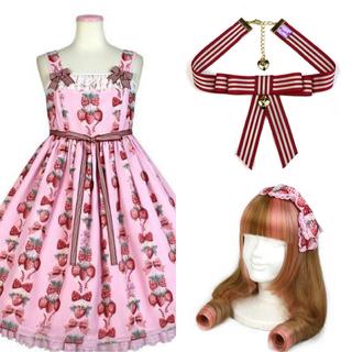アンジェリックプリティー(Angelic Pretty)のまぁ様専用♡strawberry doll JSK&カチューシャ&チョーカー(ひざ丈ワンピース)