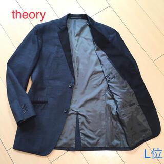 セオリー(theory)のセオリー リネン混◎お洒落な春夏ネイビージャケット★紺 麻 40 L位 A232(テーラードジャケット)