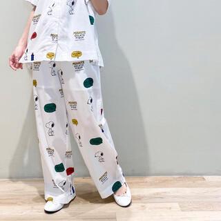 ジェラートピケ(gelato pique)のジェラピケ×PEANUTS コラボ♡スヌーピー ロングパンツ  ホワイト☆(パジャマ)