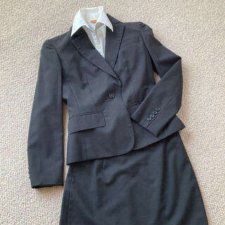 アオヤマ(青山)のスカートスーツ リクルートスーツ フォーマル シャツ付き グレー 小さいサイズ(スーツ)