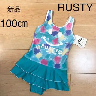 ラスティ(RUSTY)の新品 ラスティー UVワンピース水着 100 ニコちゃん(水着)