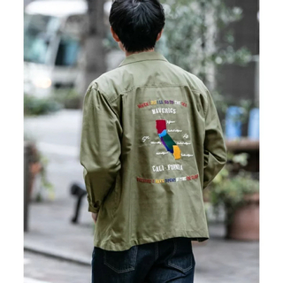 定価9350円 カルフォルニアシャツ 長袖・カーキ