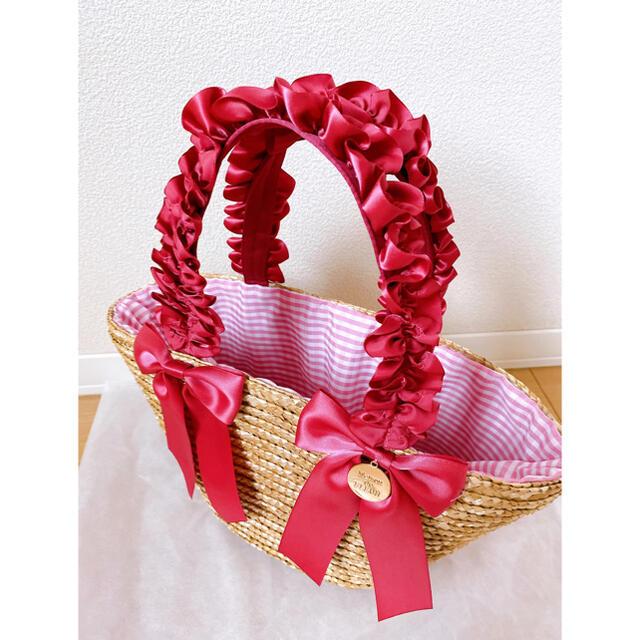 Maison de FLEUR(メゾンドフルール)の♡フリルハンドルダブルリボンカゴバッグ♡ レディースのバッグ(かごバッグ/ストローバッグ)の商品写真