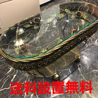 真鍮 ガラストップ 洋物アンティーク(その他)