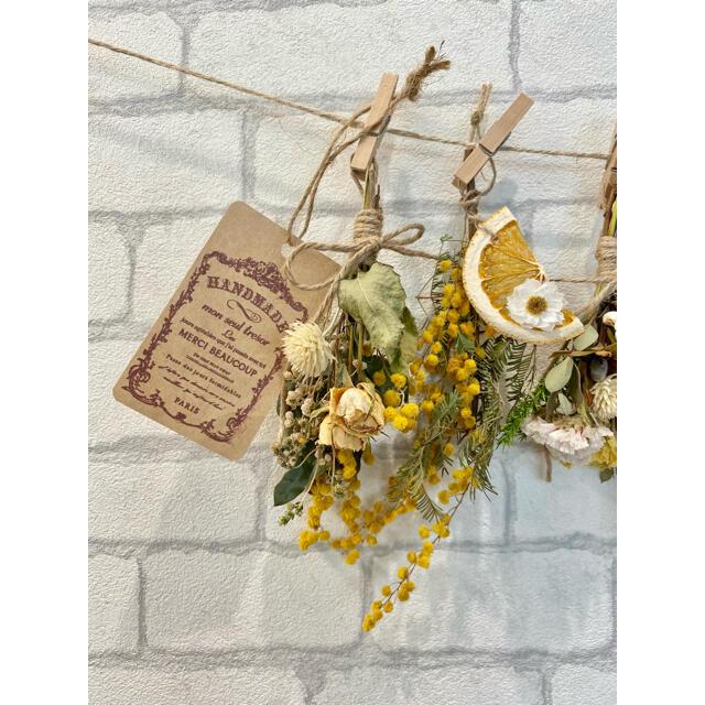 ドライフラワー スワッグ ガーランド❁296 黄色ミモザ 白オレンジ 花束♪ ハンドメイドのフラワー/ガーデン(ドライフラワー)の商品写真