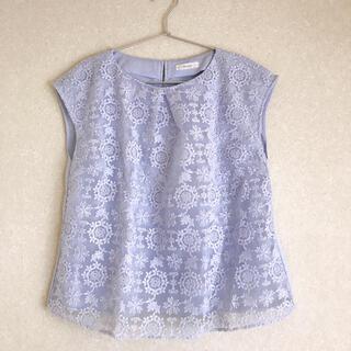 テチチ(Techichi)のテチチ ブラウス 刺繍 レース アイスブルー(シャツ/ブラウス(半袖/袖なし))