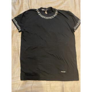ミュウミュウ(miumiu)のmiumiu クリスタルビジューTシャツ Sサイズ(Tシャツ(半袖/袖なし))