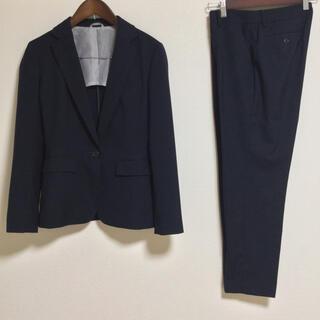 ザ スーツカンパニー パンツスーツ 38/40 テーパード 濃紺 OL 手洗い
