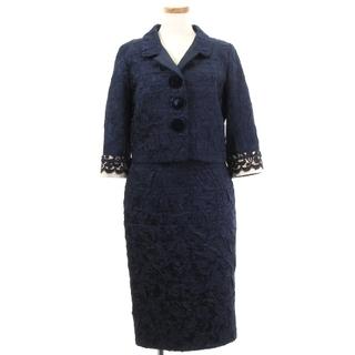 ルイヴィトン(LOUIS VUITTON)のルイヴィトン 美品 セットアップ 3点 ジャケット スカート ビスチェ 紺 38(その他)