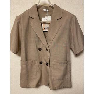 シマムラ(しまむら)の新品 しまむら ハンダブテーラージャケット 半袖ジャケット ブラウン(テーラードジャケット)