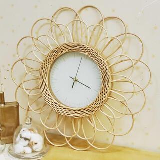 Francfranc - ラタン時計 フラワー 韓国インテリア 壁掛け時計