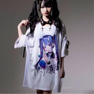 ミルクボーイ(MILKBOY)のレフレム💙negiコラボ💙青髪少女袖レースアップTシャツ💙白💙新品(Tシャツ(半袖/袖なし))