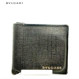 ブルガリ(BVLGARI)の【ブルガリ】レザー 折財布 ブラウン 折柄模様 ロゴ ヴィンテージ 90s(折り財布)