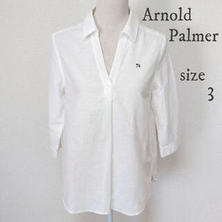 アーノルドパーマー(Arnold Palmer)の【Arnold Palmer】刺繍 シャツ 長袖 無地 麻混 白 サイズ3(シャツ/ブラウス(長袖/七分))
