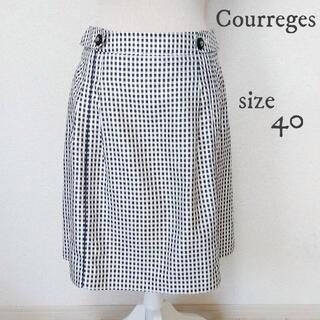 クレージュ(Courreges)の【Courreges】ギンガムチェック スカート シルク混 白黒 40(ひざ丈スカート)