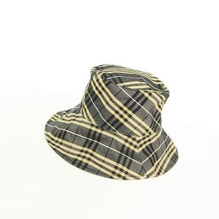 バーバリー(BURBERRY)のノバチェック×ロゴマーク刺繍 2way リバーシブル バケットハット つば広帽子(ハット)
