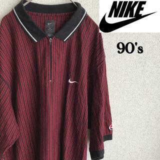ナイキ(NIKE)の90s NIKE GOLF 半袖 ストライプ ポロシャツ ナイキ ゴルフ L(ポロシャツ)