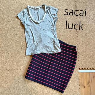 サカイラック(sacai luck)の美品 sacai luck Tシャツ グレー(Tシャツ(半袖/袖なし))