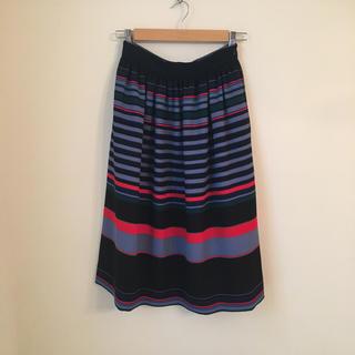 ザラ(ZARA)のZARA マルチカラーボーダー スカート(ひざ丈スカート)