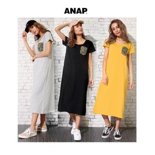 アナップ(ANAP)のANAP 迷彩ダメージポケットロングワンピース グレー(ロングワンピース/マキシワンピース)