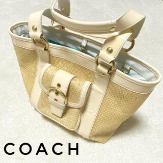 コーチ(COACH)の【若干の汚れあり】coach コーチ カゴバック かごバッグ ハンドバッグ(かごバッグ/ストローバッグ)