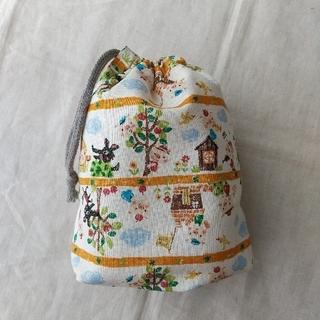 巾着袋 W約16.5cm☓H約18.5cm マチ約8cm 裏地なし コップ袋など(バッグ/レッスンバッグ)