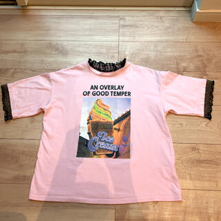 repipi armario - レピピアルマリオ  襟袖レース 半袖 プリント Tシャツ S